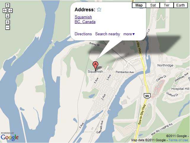 Map Squamish Hotels